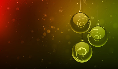 Christmas balls in color background
