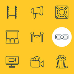 Vector Illustration Of 9 Cinema Icons. Editable Pack Of Loudspeaker, Hall, Cinema Fence And Other Elements.