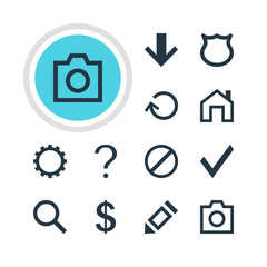 Vector Illustration Of 12 User Icons. Editable Pack Of Mainpage, Snapshot, Downward And Other Elements.
