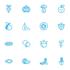 Set Of 16 Editable Kitchenware Outline Icons. Includes Symbols Such As Corn, Orange, Fresh Fruit And More. Can Be Used For Web, Mobile, UI And Infographic Design.