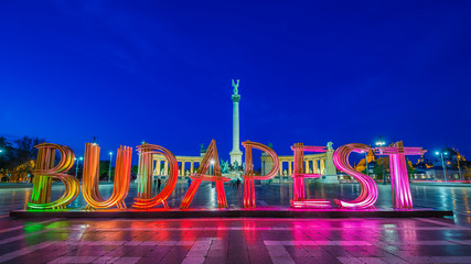 Printed kitchen splashbacks Budapest Budapest, Hungary - The beautiful Heroes' Square at blue hour