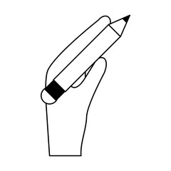 hand holding pencil with eraser icon image vector illustration design  black and white
