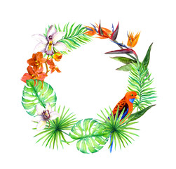 Tropical leaves, exotic birds, orchid flower. Floral wreath. Watercolor