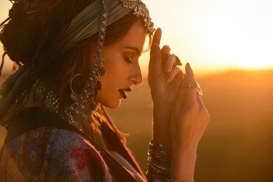 gypsy woman in a desert