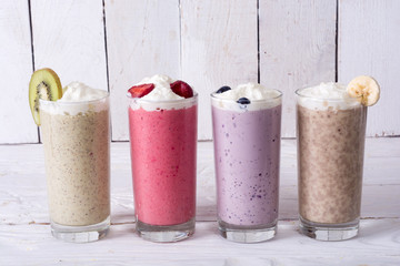 Keuken foto achterwand Milkshake Milk shake with berries