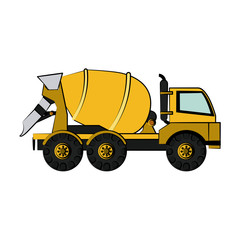 cement truck construction heavy machinery icon image vector illustration design