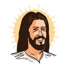 Portrait of happy Jesus Christ. Messiah, God symbol Christianity. Cartoon vector illustration