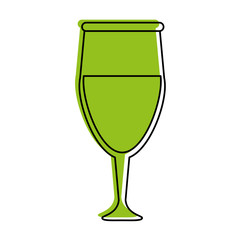 glass of wine icon image vector illustration design  green color