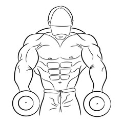 Logo of bodybuilding, emblem of gym, man musculature, body builder with dumbbells, logo of sports nutrition, sign of strength, powerlifting. Hand draw, style lines. Vector illustration AI10