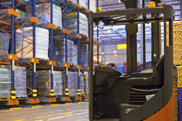 Forklift in Distribution warehouse
