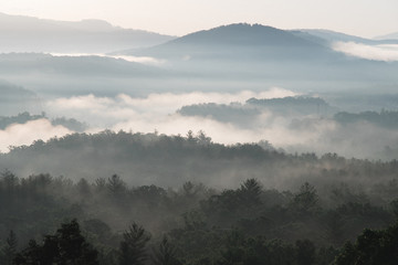 Sunrise over Blue Ridge Mountains with fog, Asheville, North Carolina