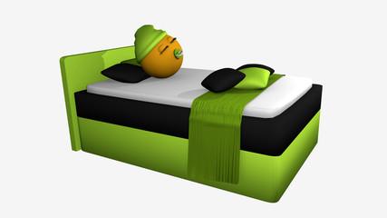 putziges Emoticon mit Schlafmütze und Schnuller schläft im apfelgrünem  Boxspringbett