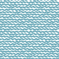 Seamless water pattern with hand drawn wavy brush strokes