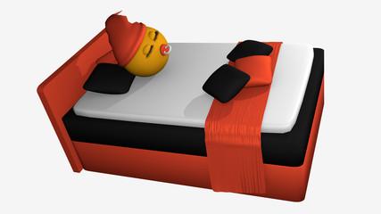 putziges Emoticon orange-schwarzem Boxspringbett. 3d-Rendering auf weiß isoliert