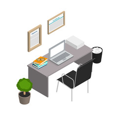 Isometric office interior. Modern workplace