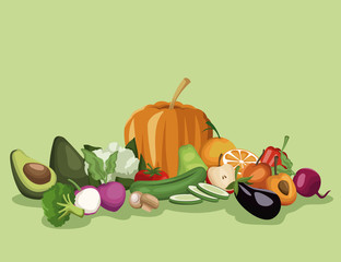 color background with vegetables and fruits healthy food set vector illustration