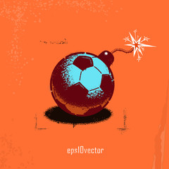 Football soccer bomb with a burning fuse cord as a stencil on the wall . eps10. Street art.