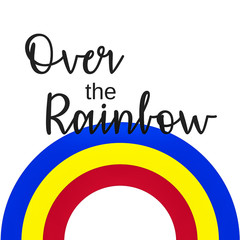 Inspirational Quote:  Somewhere over the Rainbow in typography with colorful rainbow