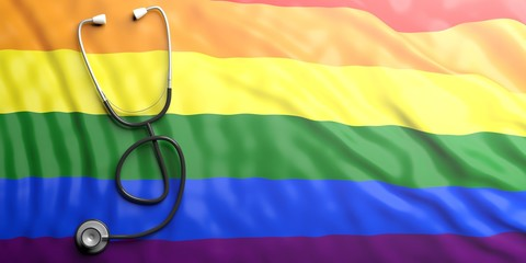 Stethoscope on lgbt flag, 3d illustration