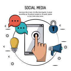 colorful poster of social media with smartphone in circle with icons of light bulb and speech bubble and megaphone and padlock vector illustration