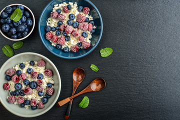 Cottage cheese with fresh blueberry