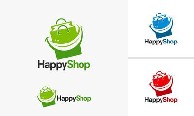 Happy Shop logo designs, Fun Store logo template vector illustration