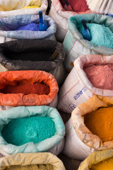 powdered pigments in sacks