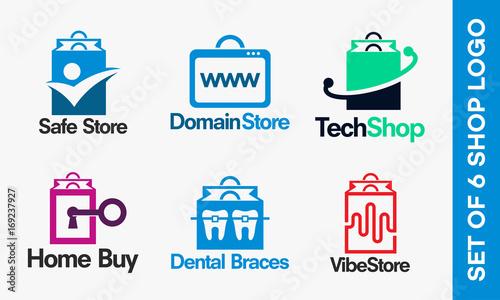 df682d41c Set of Shopping logo designs. Set of Online Shopping logo, Safe Shop ...