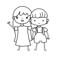 line beauty girl and boy together with hairstyle