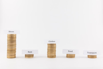 Big expenses on shoes. Coin stacks isolated in white background with labels