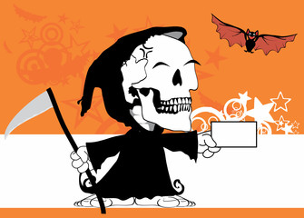 funny little chubby grim skull skeleton cartoon halloween background in vector format