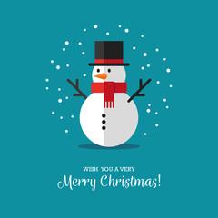 Flat snowman icon