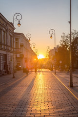 Sunset on the street Sienkiewicz in kielce
