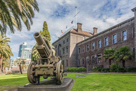 Melbourne, Australia - July 29, 2017: Vintage cannon in front of Victoria Barracks Museum in Melbourne