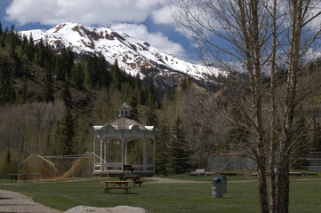 Silverton Colorado Town Park on an early summer afternoon