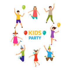 Kids Party, Funny Girls and Boys Jumping. Ghildhood Isolated