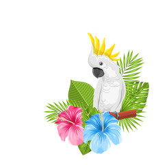 Parrot White Cockatoo with Colorful Exotic Flowers Blossom