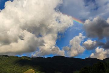 Beautiful nature Cloudy with rainbow. Blue sky and white cloud with sun light.Boklua Nan Province, Thailand