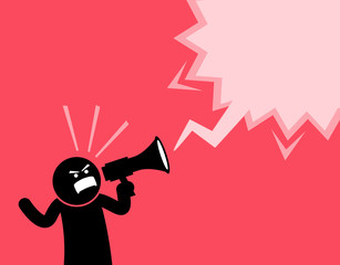 Man screaming out loud with a megaphone. He is declaring and announcing something important. He is full of spirit, emotion, and clenching his fist while shouting with the loudspeaker.