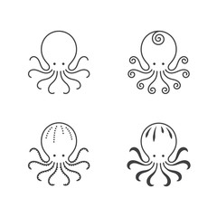 Octopus icon outline stroke set design illustration black and white color isolated on white background, vector eps10