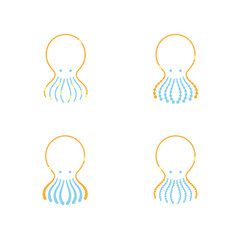 Octopus icon outline stroke set dash line design illustration orange yellow and blue color isolated on white background, vector eps10