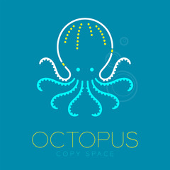Octopus and Air bubble logo icon outline stroke set dash line design illustration blue white and yellow color isolated on blue background with Octopus text and copy space, vector eps10