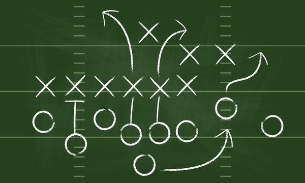 Vector Football Play. Football America. NFL American football formation tacticson. American football field tactics. Touchdown.
