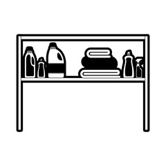 black sections silhouette of rack with clothing cleaning products and folded towels