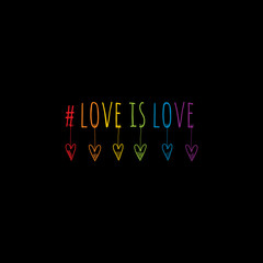 #love is love multi color doodle illustration with heart shapes