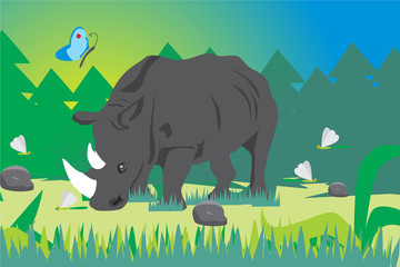 forest background with rhinoceros