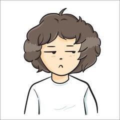 """The vector illustration """"Boy curly hair Vector"""""""