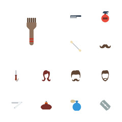 Flat Icons Razor, Cotton Buds, Bristle And Other Vector Elements. Set Of Shop Flat Icons Symbols Also Includes Straight, Deodorant, Hairdresser Objects.