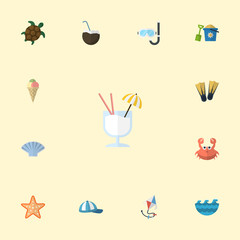 Flat Icons Sea Star, Tortoise, Sorbet And Other Vector Elements. Set Of Summer Flat Icons Symbols Also Includes Swimming, Palm, Tortoise Objects.