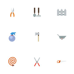 Flat Icons Tools, Wheelbarrow, Spray Bottle And Other Vector Elements. Set Of Gardening Flat Icons Symbols Also Includes Saw, Hand, Wheelbarrow Objects.